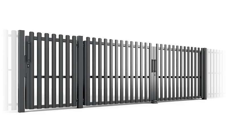 2 fl gelig einfahrtstor mit gartentor 5300 x 1500 mm. Black Bedroom Furniture Sets. Home Design Ideas