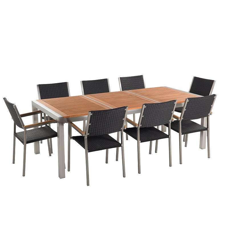 Gartenmobel Set Mahagoniholz 220 Cm 8 Sitzer Stuhle Rattan Grosseto