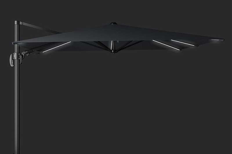 GI11850 Hawaii Lumen Sonnenschirm LED 300 x 300 cm carbon black / black