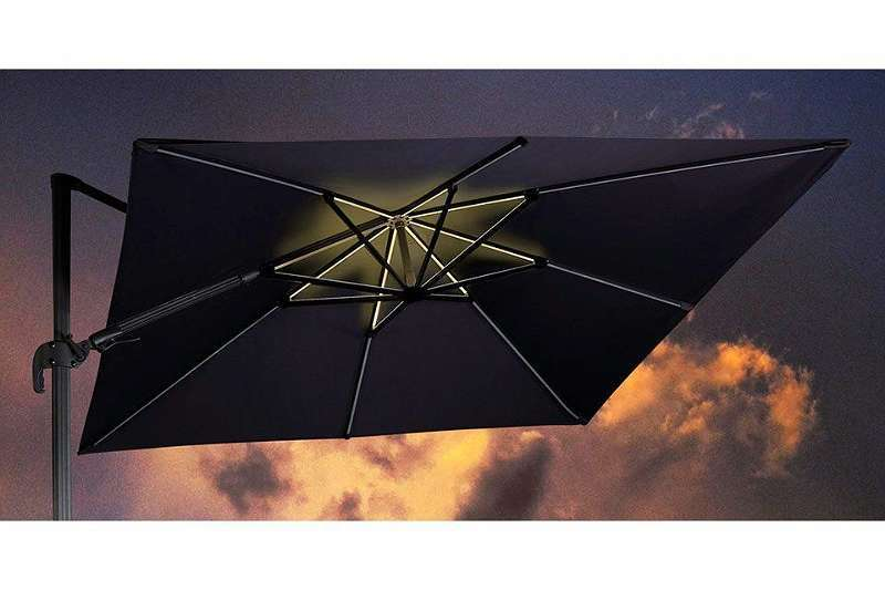 GI11472 Hawaii Lumen Sonnenschirm LED 300 x 300 cm carbon black / dark grey