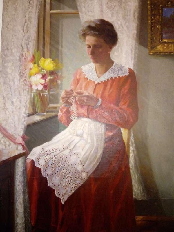 B119 Motiv: Die strickende Frau, signiert