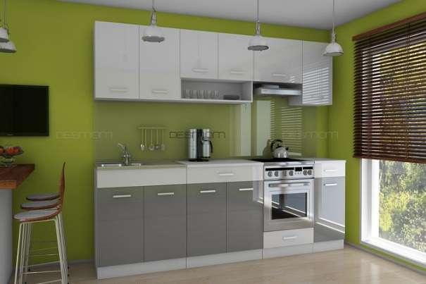 Küchenzeile / Küchenblock - ' CARMEN - 2,6m ' - in GRAU HOCHGLANZ