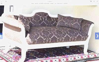 weiße Biedermeierbank,+2 Pölster, Sofa, neu restauriert und tapeziert