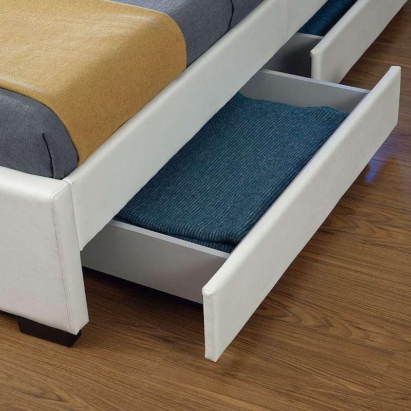 Polsterbett mit Bettkasten 140 x 200 cm weiß Bett Kunstlederbett Einzelbett Doppelbett JU28961