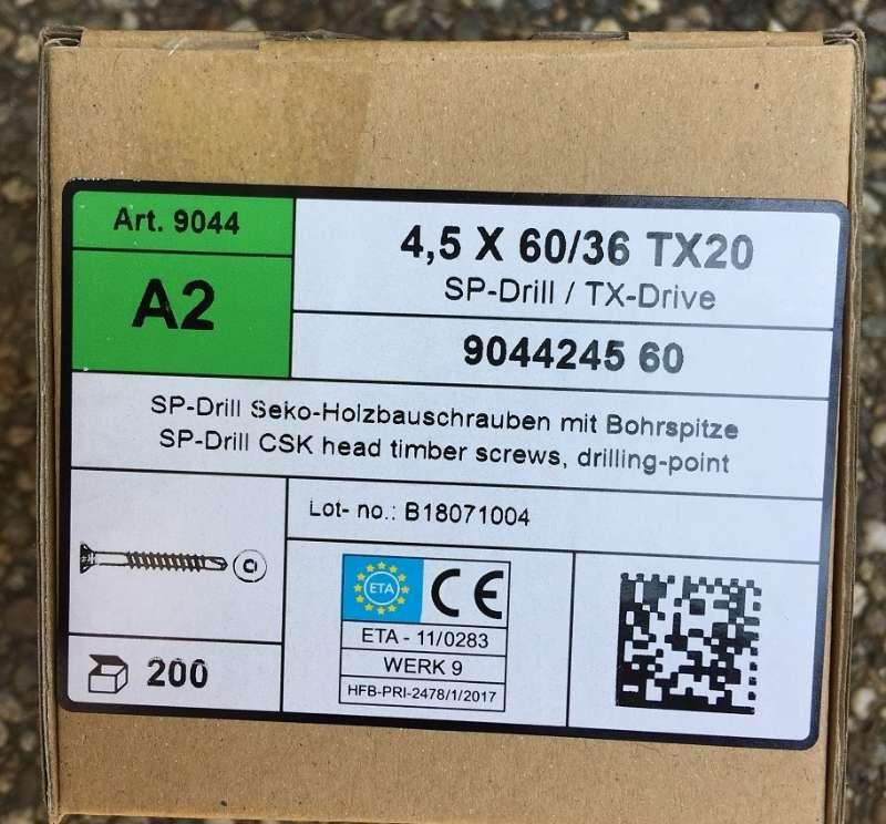 eine Verpackungseinheit Edelstahl-Holzbauschrauben