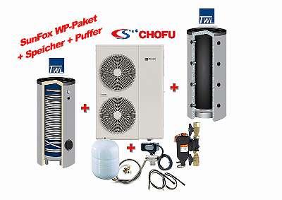 16 kW/380V Wärmepumpen Komplettpaket mit 400L Speicher und 500L Puffer
