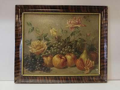 Obststilleben mit Äpfel, Birnen, Trauben, Orange und Rosen