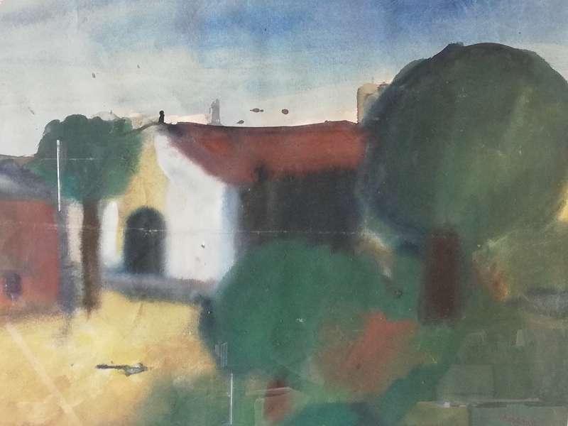 Haus mit Grünen Kugelbäumen, Aquarell