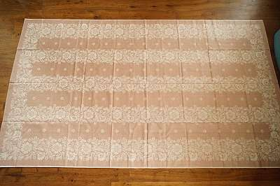 RIESIG 8 - sehr schönes, original altes Tischtuch aus hochwertigem Baumwoll-Damast | Tafeltuch Fest Feier Wohnzimmer Küche Tischdecke diverse Farben und Muster Geschirr Set