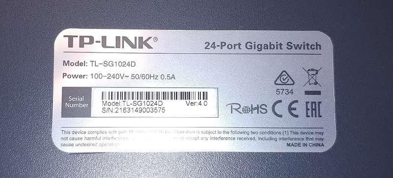 TP-Link TL-SG1024D 24 Port unmanaged Gigabit Switch + GARANTIE