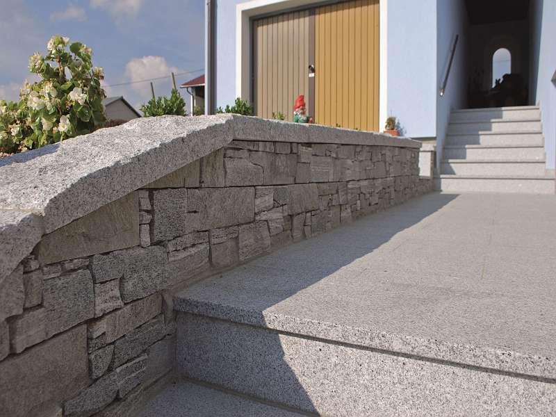 Mauerabdeckung Granit Hellgrau Geschlagen 100/35/5-6cm Euro=42,90-/lfm