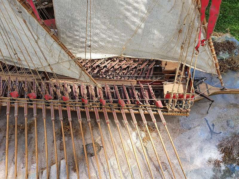 SCHIFFSMODELL französische königl. Galeere Stil 18.Jhdt über 1 Meter