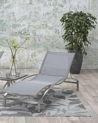 Bergamo Liege Edelstahl / Textilen grau Gartenliege Poolliege Sonnenliege Relaxliege GI01470SL