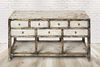 Sideboard Évora, Vintage Möbel, Altholz, Shabby Look, Rustikal, Altholz, Natur, Vollholz,154x42x85cm