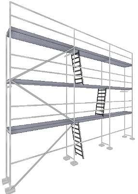 NEU Typ Layher Gerüst Layhergerüst ca.78 qm Geländer Stahlböden 3,07 m Gerüstbau