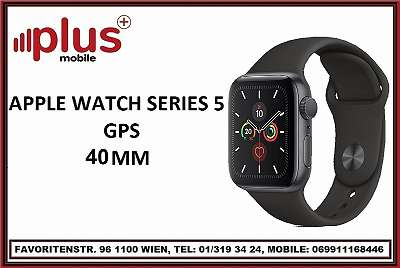 APPLE WATCH SERIES 5 40mm GPS BLACK ALUMINUM BLACK SPORT BAND , NEU , OVP, VOLLE HERSTELLER GARANTIE GARANTIE, PLUS MOBILE !