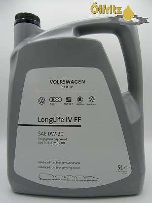 Original VW Fuel Economy LongLife IV (VW 508.00 / VW 509.00) 0W-20 Motoröl 5l Kanne
