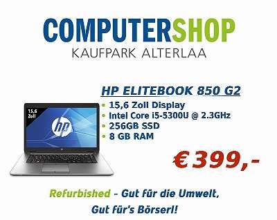 HP Elitebook 850 G2 - 15,6 Zoll - IntelCore i5 5300U@2.3 GHz - 8 GB RAM - 256 GB SSD - Win10Home