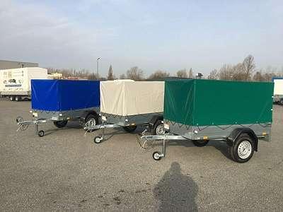 Tieflader Pkw Anhänger 750kg mit Plane