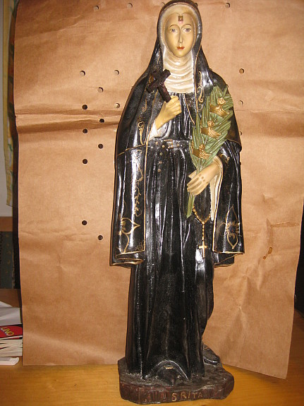 Heilige RITA 59 cm Heiligenfigur Nonne Klosterschwester Statue Figur Dachbodenfund