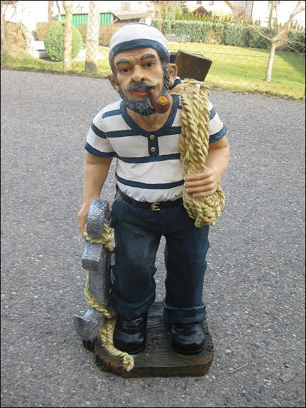 Matrose Seefahrer 80 cm Dekofigur Figur Statue Kunstharz handbemalt neu