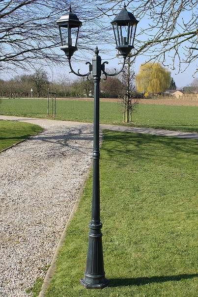 Garten Laterne 225cm 2 Flammig Schwarz Grün 178 9541