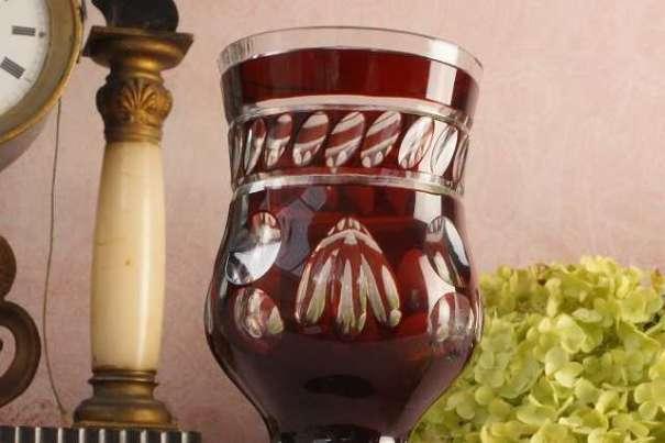 BIEDERMEIER Ranftbecher aus Rubinglas! Vintage Becher Römer Wein Krug