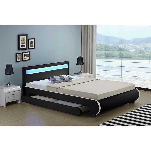 bett kunstlederbett polsterbett bill mit bettkasten 140 x 200 cm schwarz ju28935 249. Black Bedroom Furniture Sets. Home Design Ideas