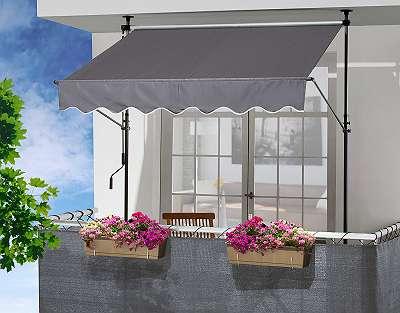 °Ausstellungsstück° Klemmmarkise grau Markise Überdachung Sonnenschutz 250 / 150 cm 610045