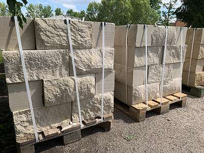 % AKTION Mauersteine - 4 Seiten gesägt - Sandstein beige/ gelb - Naturstein