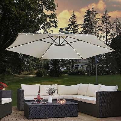 Ampelschirm mit LED Sonnenschirm Gartenschirm Terassenschirm Ø350 cm mit Kurbel und Standfuß creme JU25465