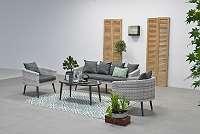 Dazur Loungeset 4-teilig cloudy grey / reflex black Sitzgruppe Gartenmöbel Garnitur GI06572SO