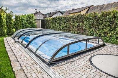 Top Angebot Edel Poolüberdachung Vollglas - Schiebedach - Schwimmbadüberdachung - Pooldach 646x407x82cm