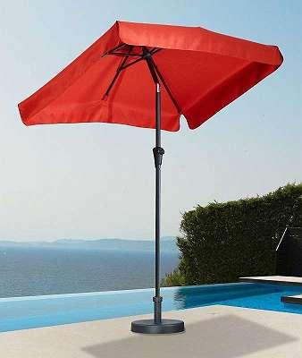 °Ausstellungsstück° Sonnenschirm 120 x 190 cm rot Sonnenschutz Rechteckschirm 568899