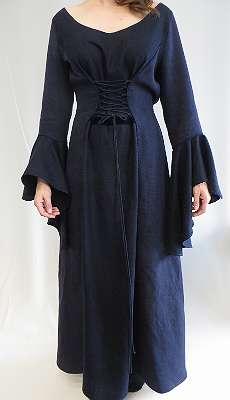 Mittelalter Kleid, Mittelalterkleid blaues Leinen, LARP