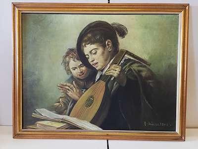 Zwei Musikanten singen aus Notenheft