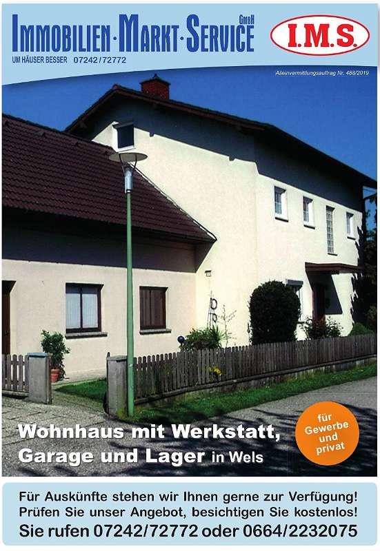 Wohnhaus mit Werkstatt, Garage und Lager in Wels