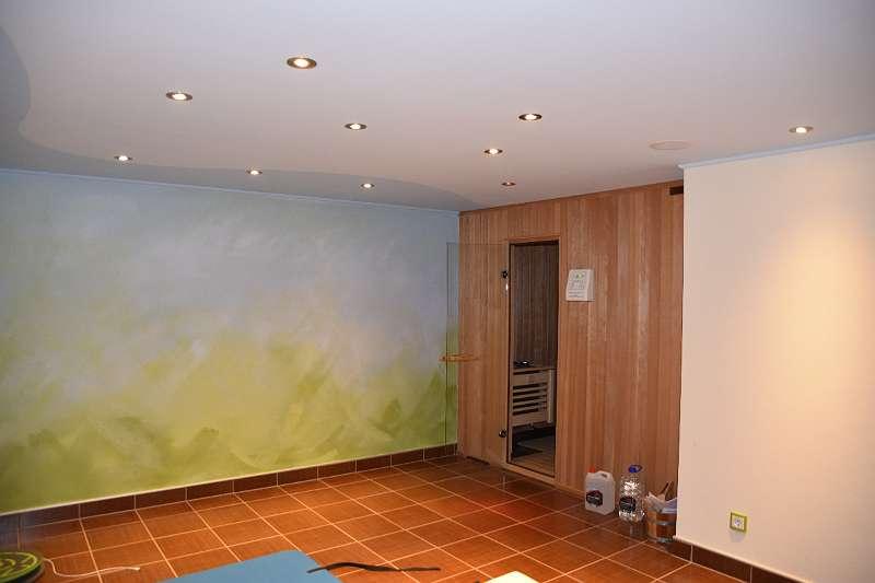 Wellnessbereich (Sauna, Dusche) im Keller