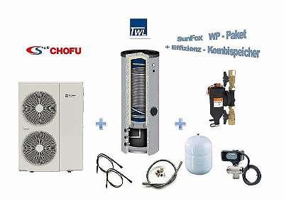 Wärmepumpen Komplettpaket Chofu 12kW + Effizienz-Kombispeicher 300/100 Liter
