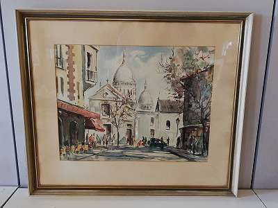 Visconti -Montmartre Paris , Aquarell