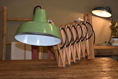 Antike Scheren Lampe / Emaille Lampe