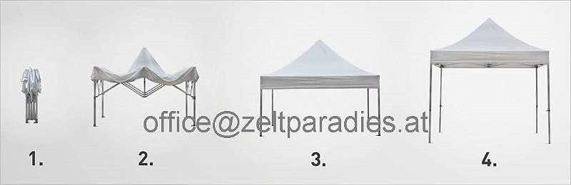 Faltzelt / Pavillon 2x4m Hexagonale Steher 40mm aus Aluminium mit Polyester-Planen