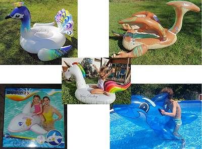 Aufblasbare XL Schwimmtiere / Schwimminseln (Einhorn, blauer od. pinker Wal/ Delfin, Dinosaurier, Pfau)