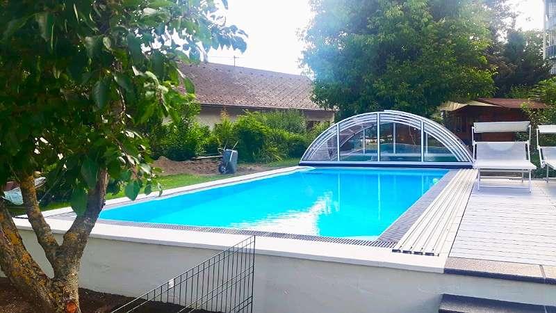 Bild 1 von 7 - 8 Meter Überlauf Pool mit Classic Bogen Überdachung von BrainPool