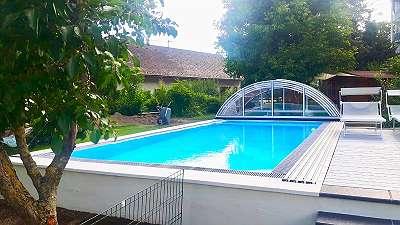 8 Meter Überlauf Pool mit Classic Bogen Überdachung von BrainPool