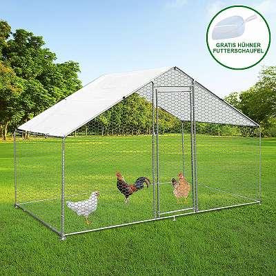 Hühnerstall 4m x 2m x 2m Hühnerfreilauf Freilaufgehege Auslauf Hühnerkäfig UV Sonnendach Kleintierstall Hühnerhaus Freilauf Outdoor 25816