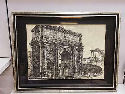 Giovanni Battista Piranesi: Bogen des Septimius Severus und Saturntempel