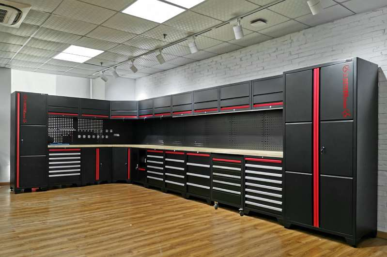 Werkstatt Einrichtungen Werkstatt set Werkbank, Schrank, Lochwand LED Beleuchtung 6026 x 2865 x 2000 x 565 x 1956