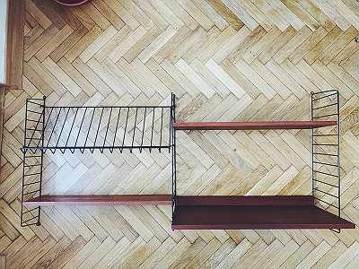 Original Mid Century String Schreibtisch Regalsystem