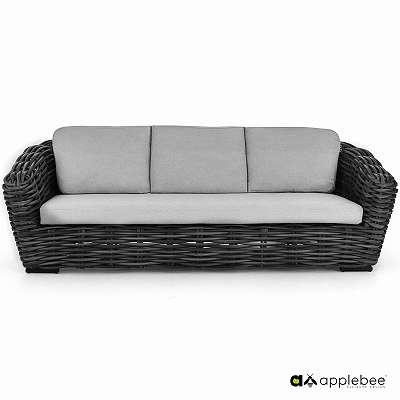 PALM BAY sofa 236 black wash Gartenbank Bank Gartenmöbel Sitzgruppe Wicker Rattan AppleBee